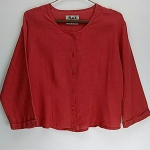 Flax Crop Button Top Red Boxy Soft V Neck Linen